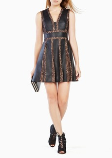 Val Faux-Leather Blocked Dress