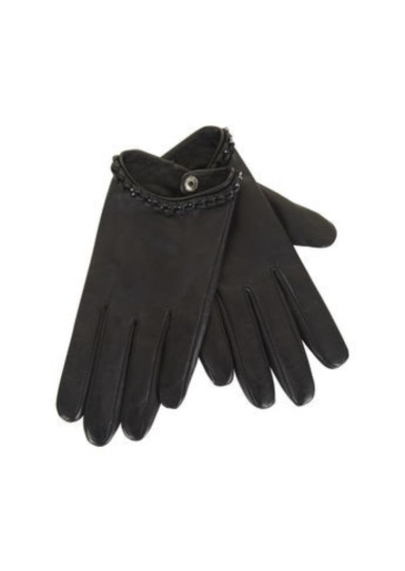 BCBG Whipstitch Chain Leather Gloves