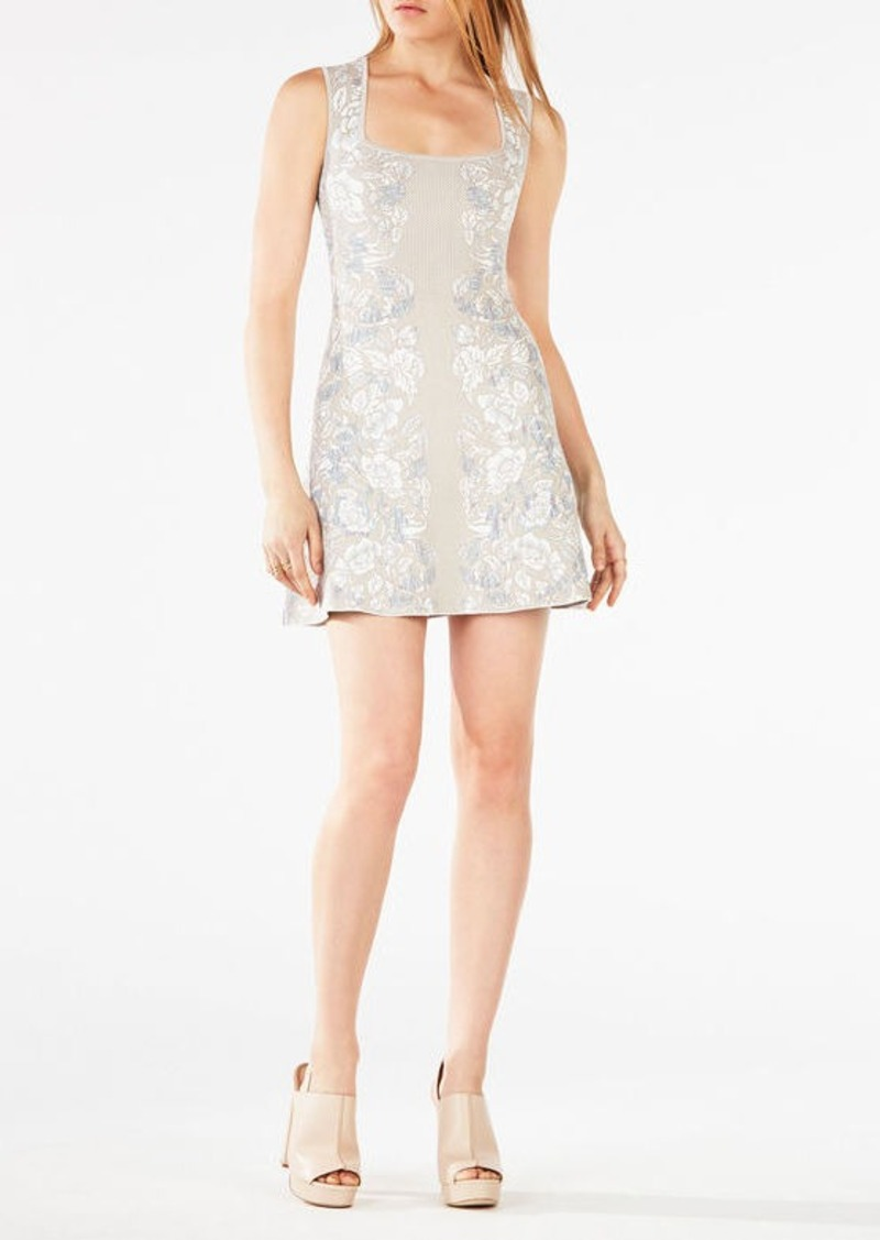 BCBG Wilma Floral Knit Jacquard Dress