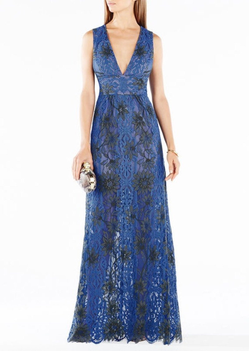 BCBG Yana Two-Tone Floral Lace Gown
