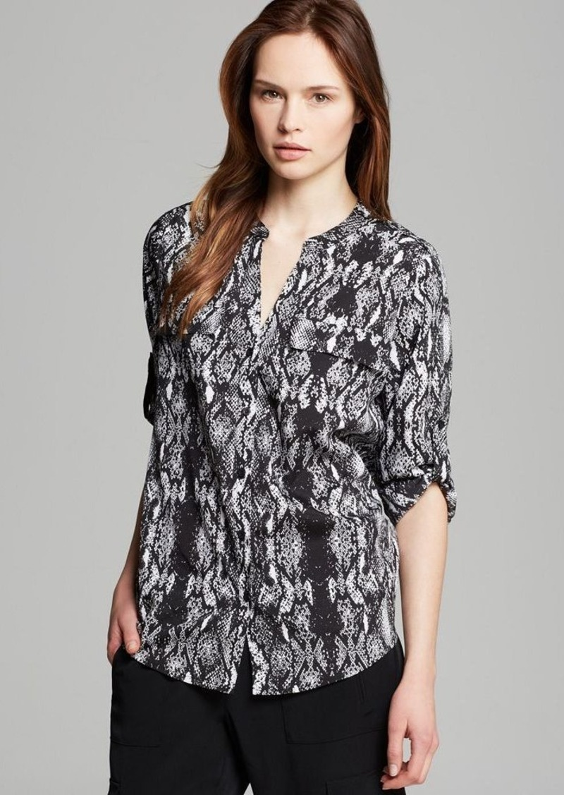 Calvin Klein Print Roll Sleeve Blouse