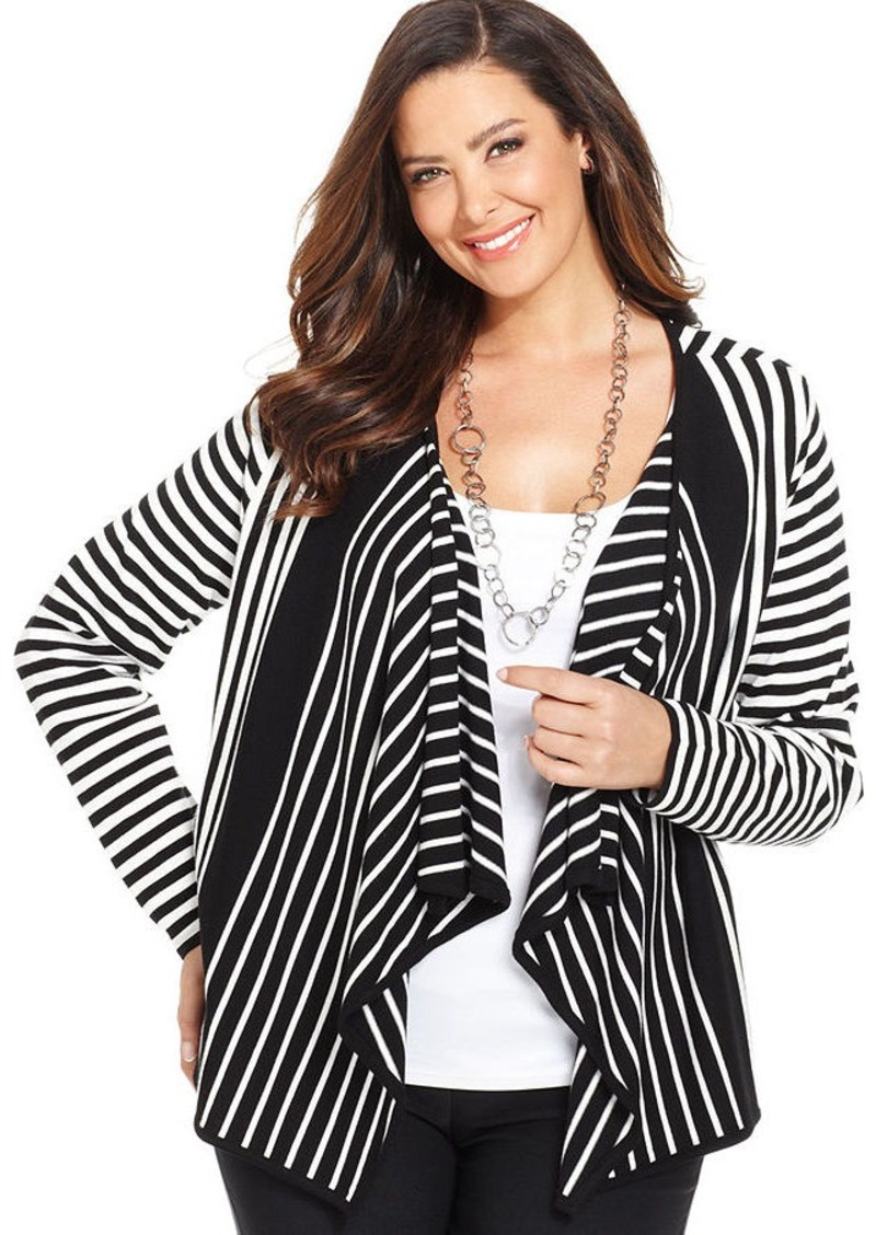 Alfani Plus Size Draped Striped Cardigan