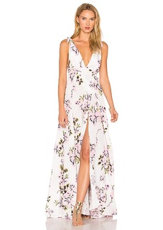 BEACH RIOT Deep V Floral Gown in White. - size L (also in M,XS)