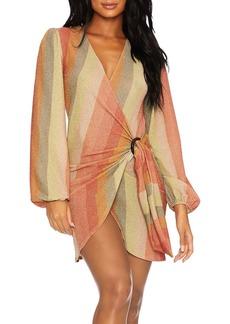 Beach Riot Dixie Glitter Striped Wrap Dress Swim Cover-Up