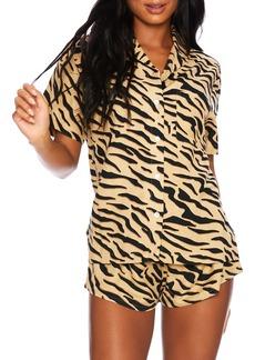 Beach Riot Zebra Short Sleeve Button-Up Shirt