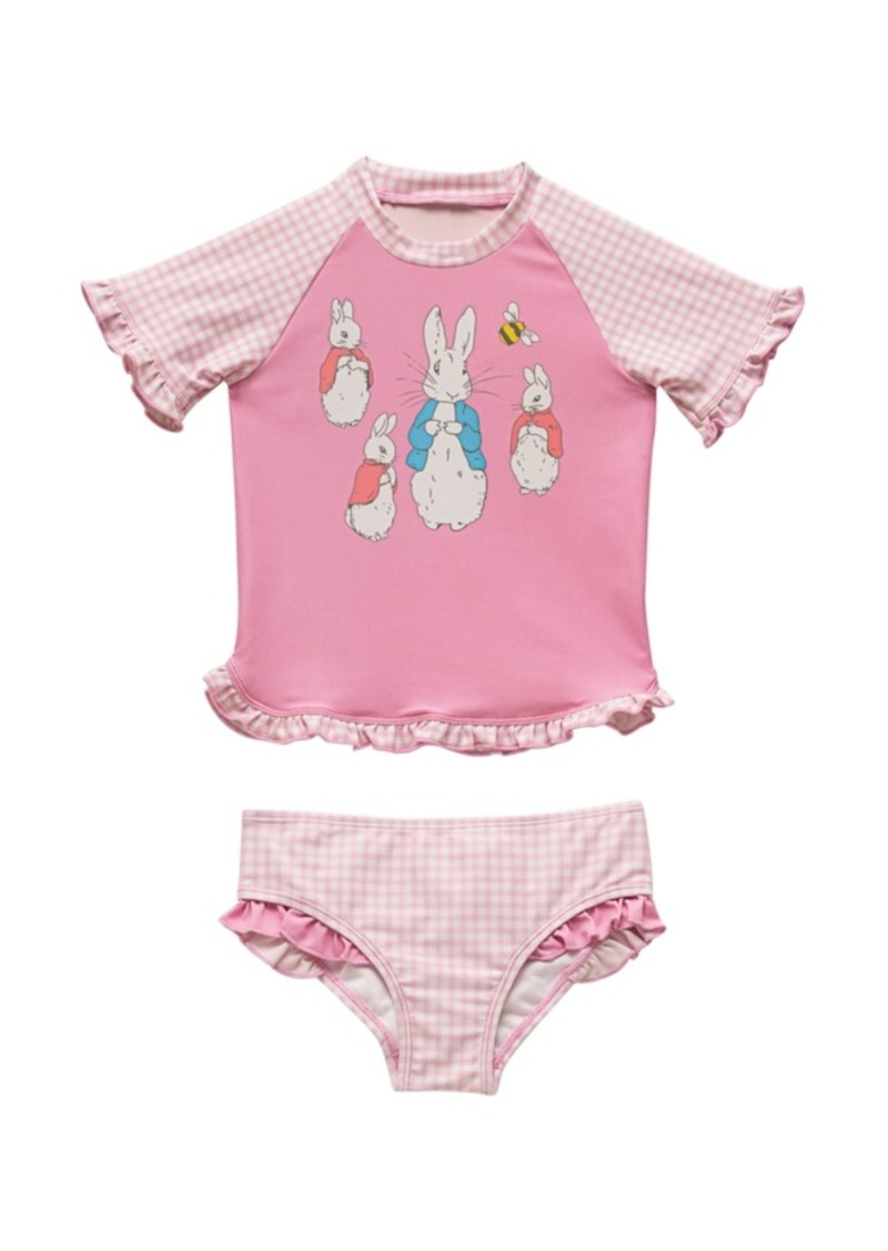 Beatrix Potter Baby Girls Gingham Print Rash Guard Two Piece Swimsuit