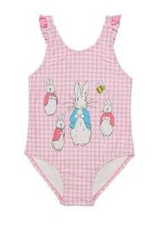 Beatrix Potter Baby Girls Gingham Print V-Back One Piece Swimsuit