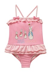 Beatrix Potter Baby Girls Gingham Print X-Back Skirted One Piece Swimsuit