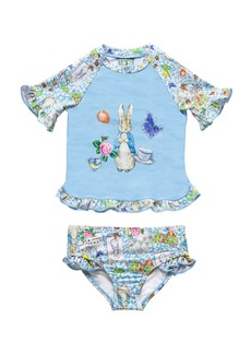Beatrix Potter Baby Girls Scrapbook Print Rash Guard Two Piece Swimsuit