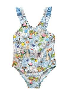 Beatrix Potter Baby Girls Scrapbook Print V-Back One Piece Swimsuit