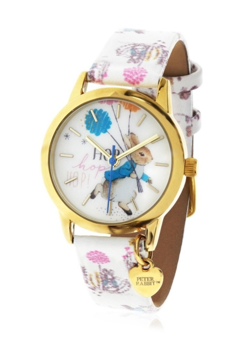 Beatrix Potter Children's Peter Rabbit Gold Steel Case and Printed White Leather Watch 28mm