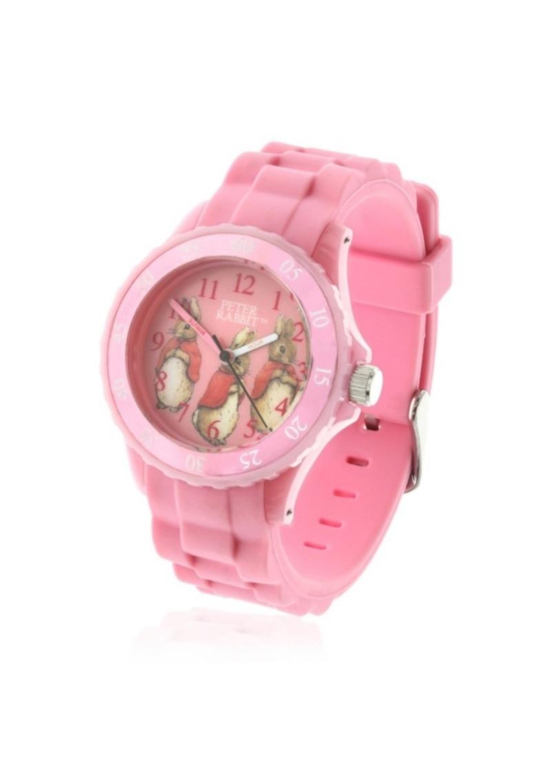 Beatrix Potter Children's Three Bunnies Time Teacher Light Pink Silicone Strap Watch