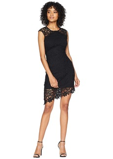 bebe Asymmetrical Lace Dress w/ Diagonal Hem