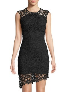 Bebe Asymmetric Lace Illusion Dress