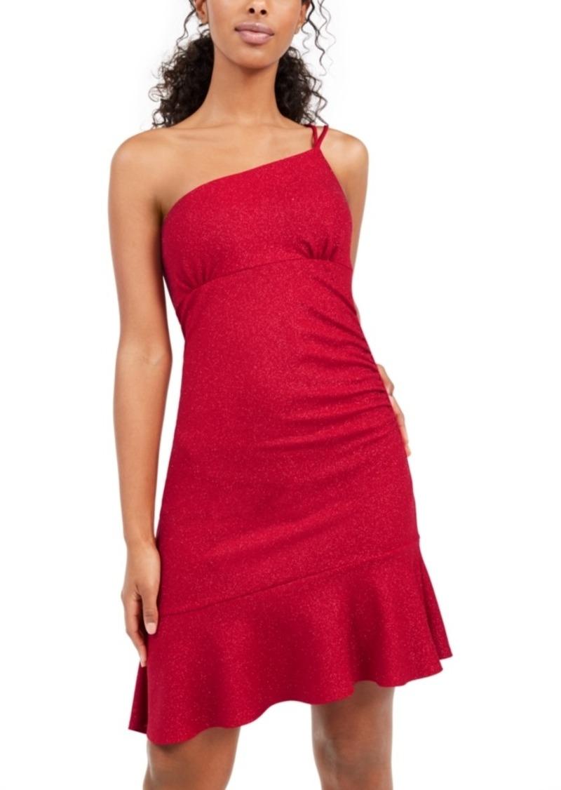 bebe One-Shoulder Glitter Scuba Dress