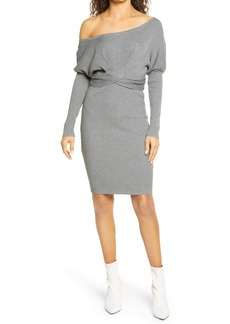 Bebe Off-The-Shoulder Sweater Dress