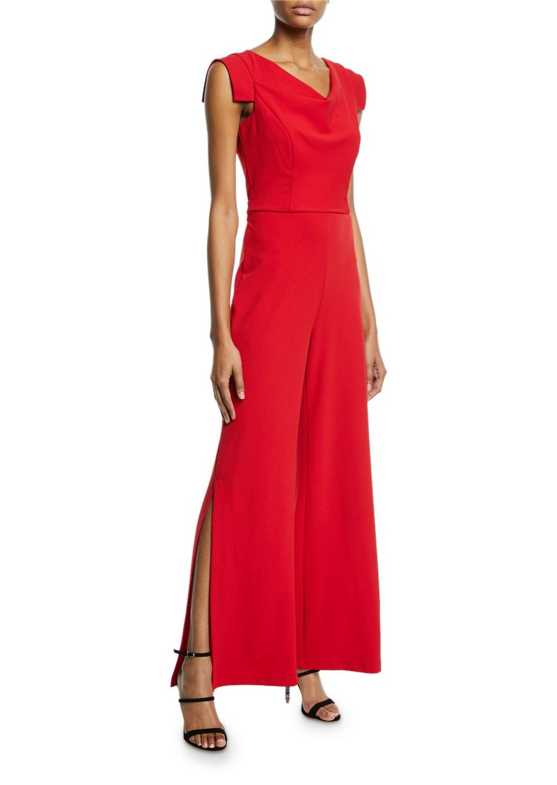 Bebe Tie-Waist Crepe Jumpsuit  Red
