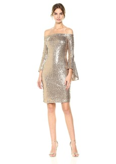 bebe Women's All Over Sequin Off The Shoulder Dress with Bell Sleeves