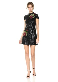 bebe Women's All Over Sequin T-Shirt Dress with Rose Applique