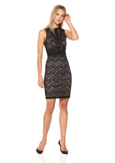 bebe Women's Bodycon Black Lace with Nude Lining Sheath Midi Dress