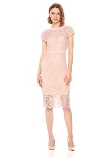 bebe Women's Cap Sleeve All Over Lace Midi Dress