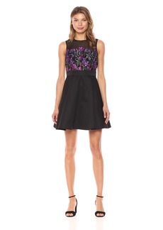 bebe Women's Fit and Flare Dress with Floral Embroidery on Lace Mesh