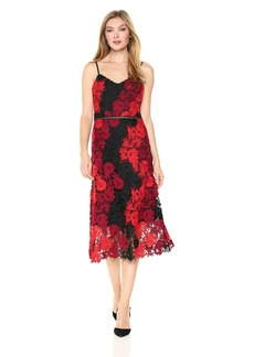 bebe Women's Floral Lace Slip Dress with A-line Silhouette red/Multi