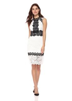 bebe Women's Lace Midi Sheath Dress with Long Sleeves