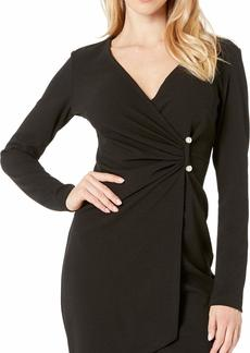 bebe Women's Long Sleeve Gathered Dress with A Pearl BAR Detail Trim