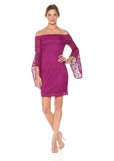 bebe Women's Missy Lace Off the Shoulder Dress with Bell Sleeve