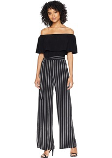 bebe Women's Off The Shoulder pin Stripe Jumpsuit