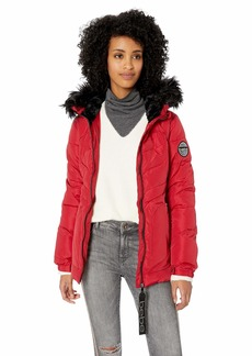 BeBe Women's Outerwear Women's Bubble Jacket with Faux Fur Everyday red S