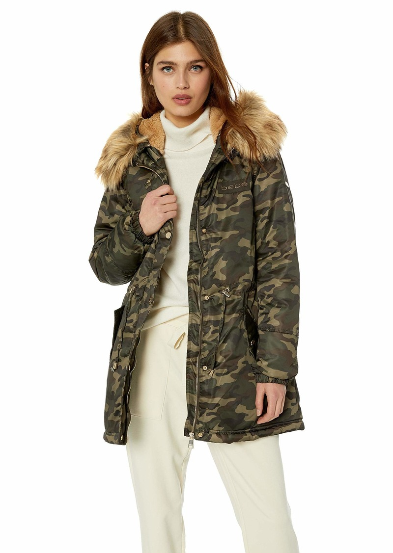 BeBe Women's Outerwear Women's Cotton Parka Jacket Colored Fur camo/Nude L