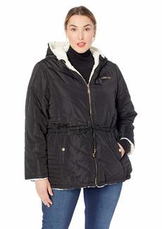 BeBe Women's Outerwear Women's Reversible Faux Fur Jacket Black M