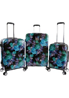 BeBe Women's Rosette 3 Piece Set Suitcase with Spinner Wheels
