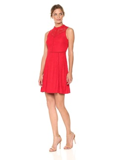 bebe Women's Sleeveless Lace Aline Dress with Open Back RED