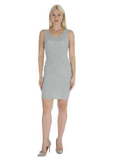bebe Women's Sleeveless Logo Dress with Side Shirring  XS