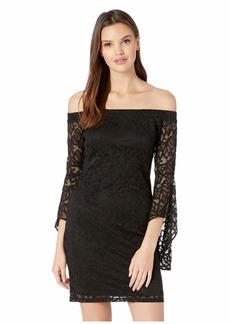 bebe Bell Sleeve Off Shoulder Lace Dress