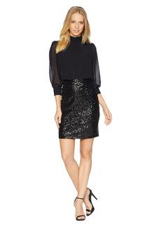 bebe Blouson Top Sequin Skirt Dress
