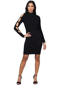 bebe Caged Long Sleeve Sweater Knit Dress