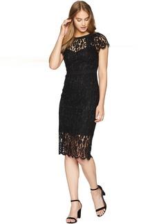 bebe Cap Sleeve Lace Midi Dress