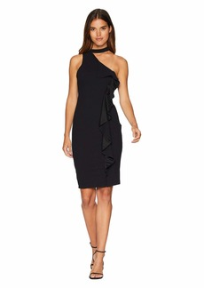 bebe Cascade Side Ruffle Down Dress