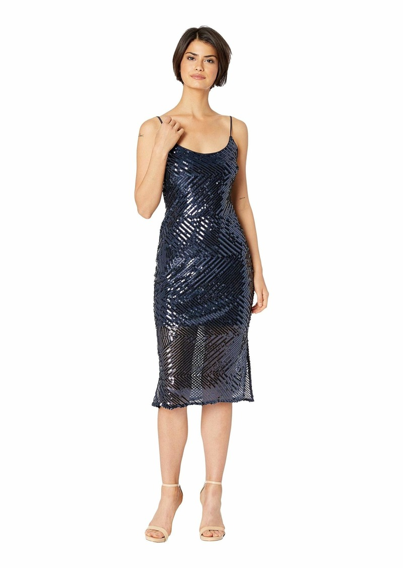 bebe Chevron Sequin Midi Slip w/ Illusion Dress