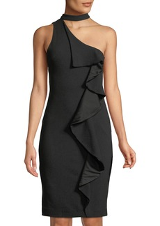 bebe Choker-Neck Ruffle One-Shoulder Bodycon Cocktail Dress