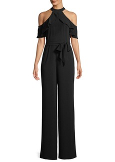 bebe Cold-Shoulder Halter Wide-Leg Jumpsuit