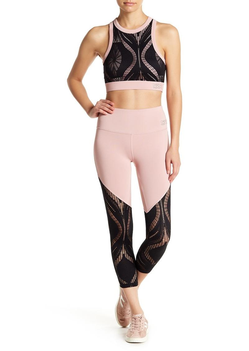 bebe Colorblock Lace Panel Cropped Leggings