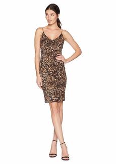 bebe Cowl Back Chain Strap Dress