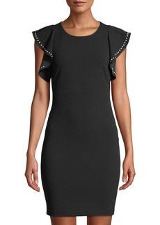 bebe Flutter-Sleeve Embellished Body-Con Dress