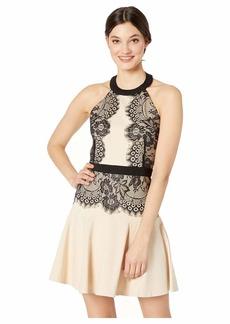 bebe Halter Lace Pencil Dress
