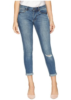 bebe Heartbreaker Crop Skinny with Roll Cuff in Aged Indigo
